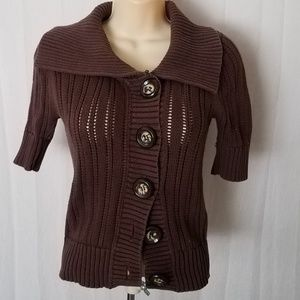 Brown Knit 1/2 Sleeve Button Down Cardigan